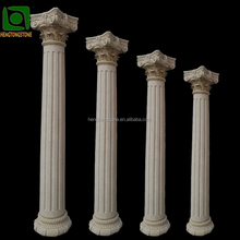 Carved beige marble Collins style roman column pillars for sale