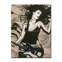 Paintings for Living Room Wall Abstract Figure Oil Painting Energetic Guitar Singer Framed Wall Art