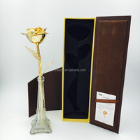 The Hot Dating Gifts 27cm Gold Real Rose 24K Flowers with Gift box and bag and certificate