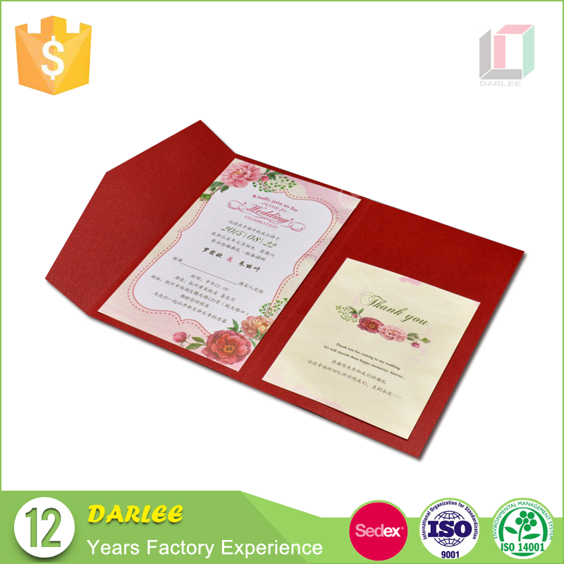 2016 Korean new design offset printing recyclable elegant latest wedding card designs