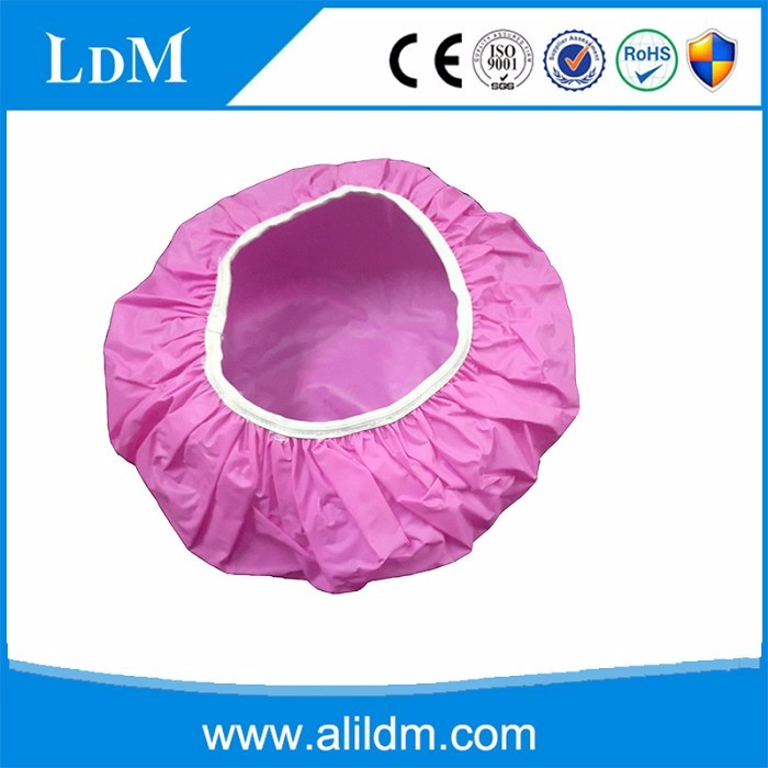 custom PVC pink shower cap/customized pink shower cap/plastic shower cap