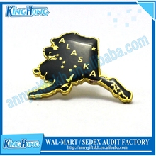 Epoxy coating gold Alaska map promotional Lapel pin