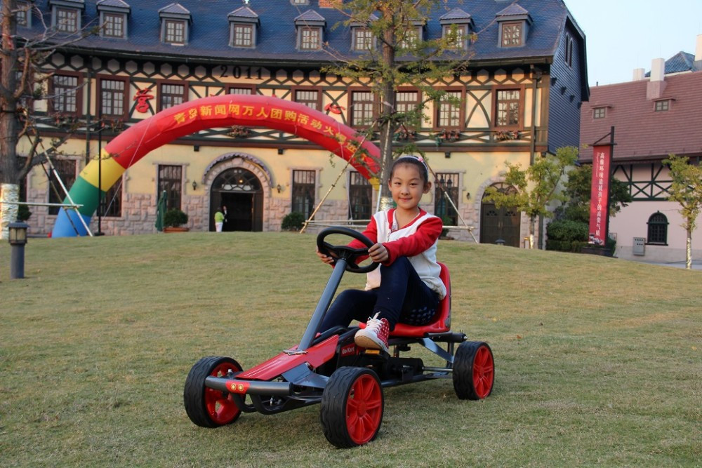 children pedal go kart with rubber wheels