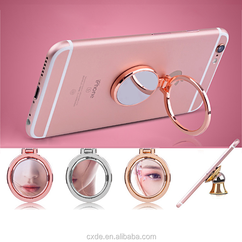 Mirror Ring Holder universal mobile phone grip stand holder desk mount stand for samsung iphone