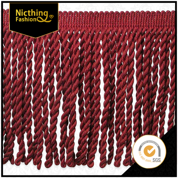 High qulity Fashion custom Red Long Chainette Polyester Tassel Fringe For Decoration