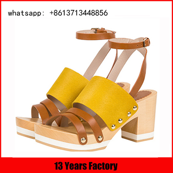 china quality supplier low price yellow and tan color high heel ladies wooden sandals