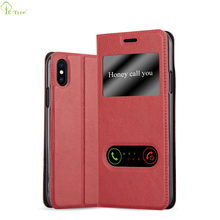 Original Ultra Slim Dual View Magnet Flip Litchi Pu Leather Stand Case For Apple iPhone X