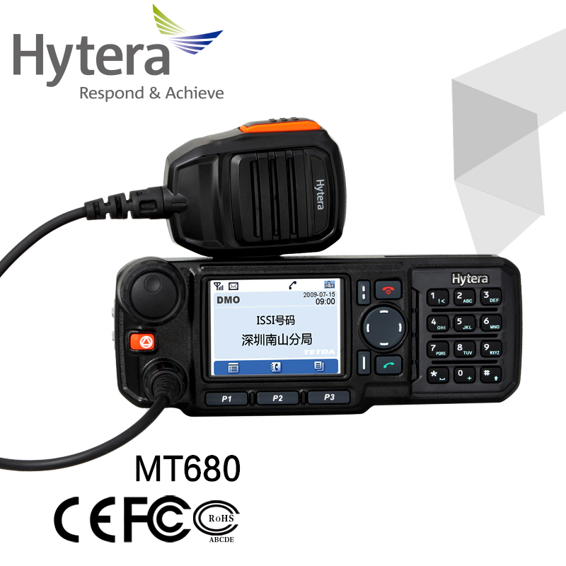 Hytera large lcd screen tetra dmr digital mobile radio most powerful 10w walkie talkie mt680 with base station