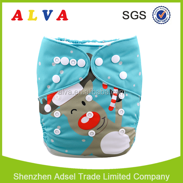 Alvababy Christmas Customized Baby Diapers XmasWashable Baby Cloth Diapers