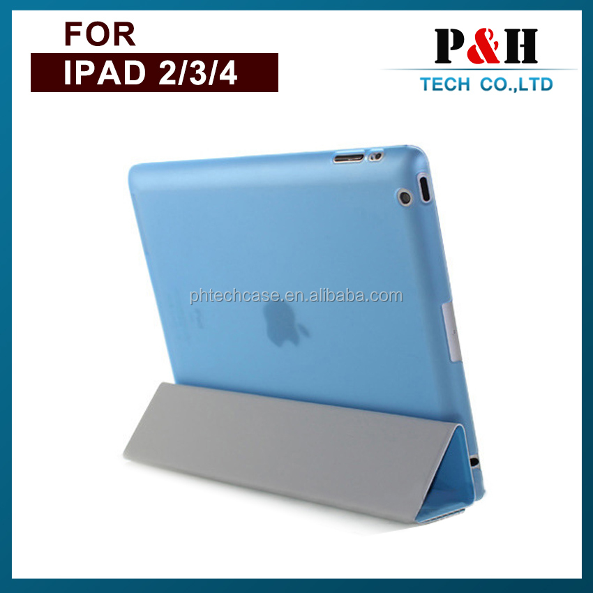 Hot selling smart cover leather case for ipad mini has 4 folds