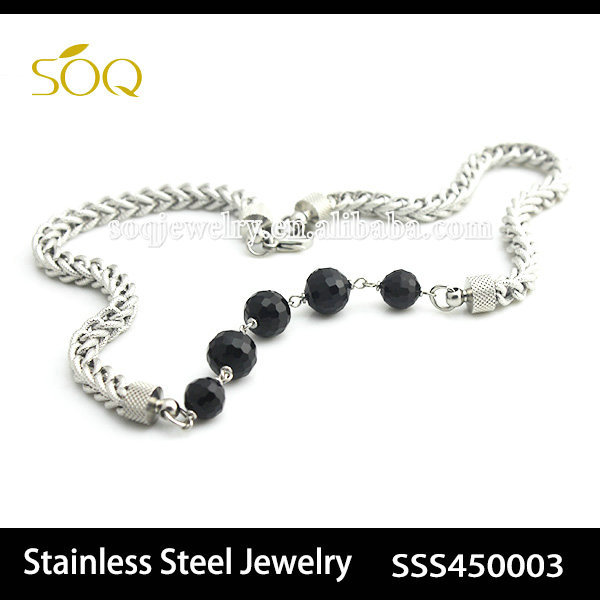 Wholesale Alibaba Silver Plated Stainless Steel Wheat Chain Jewelry with Black Acrylic Beads for Women & Men Fashion Necklace