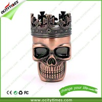 Best selling skull e-cigarette/Electric Meal Herb Grinder/3 parts herb grinder crown skull herb grinder
