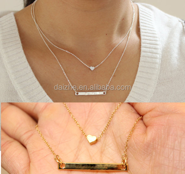 2016 fashion <strong>jewelry</strong>,18k yellow gold plated two layer heart bar name necklace
