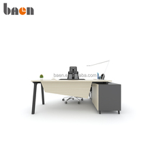 Modern design L shape MDF executive table with side cabinet