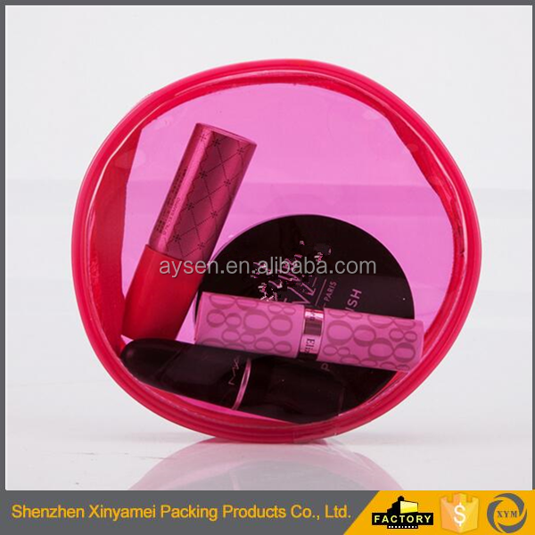 transparent pink pvc cylinder cosmetic pouch for lipstick and eye shadow