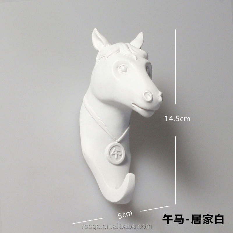 Roogo china white 12 zodiac animal horse head shape wall decoration hanger hook for home decor