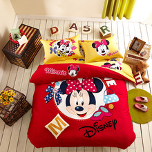 Amazing 3D mickey mouse and minnie cartoon design bedding sets 100% cotton