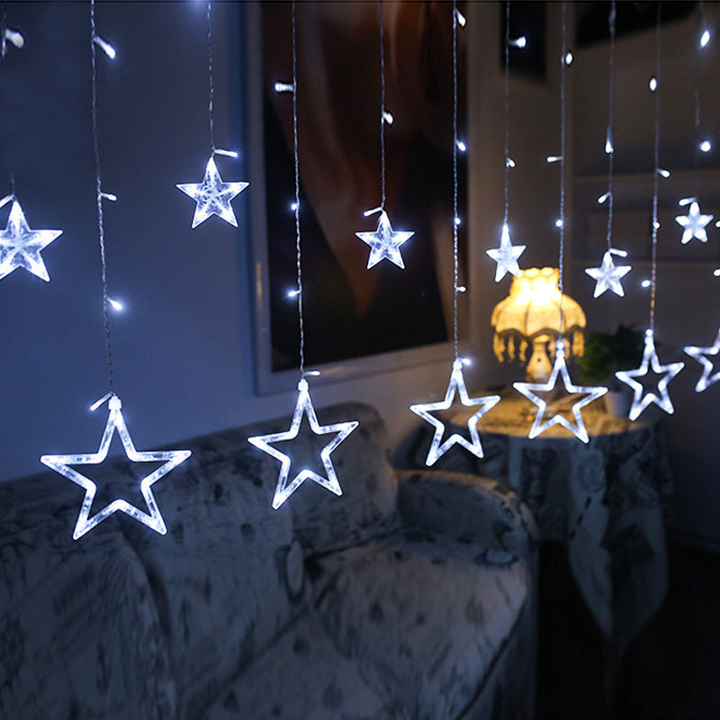 Led String Star Curtain Lights Warm White Decor <strong>10</strong> Stars 138 LEDs Window Icicle DIY Lighting for Wedding/Christmas/Holiday/Party