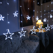 Led String Star Curtain Lights Warm White Decor 10 Stars 138 LEDs Window Icicle DIY Lighting for Wedding/Christmas/Holiday/Party
