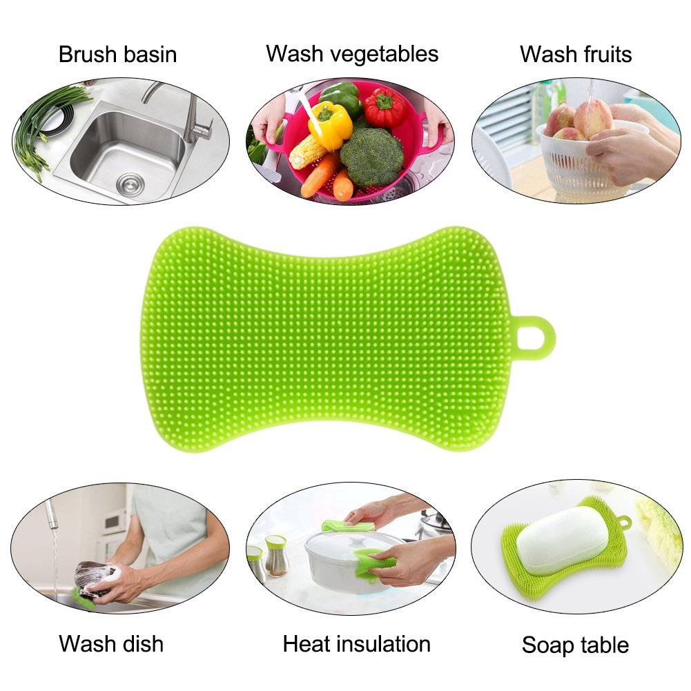 Best Kitchenware high quality Food Grade Silicone Dish Washing Sponge Cleaning brush