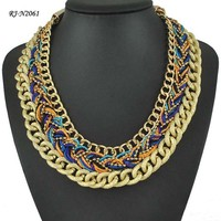 National wind hand-woven rope fashion gold chain necklace inca jewelry