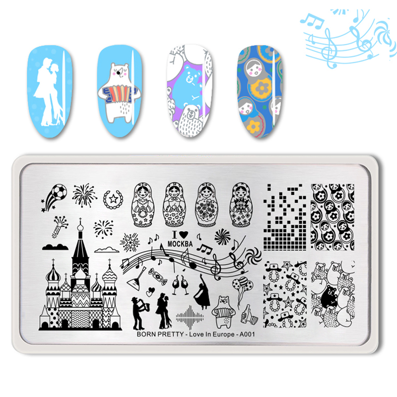 BORN PRETTY Nail Stamping Templates Rectangle Europe Style Nail Art Image Plate Stencil <strong>A001</strong>