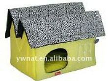 handmade short plush dog kennel with undulating roof