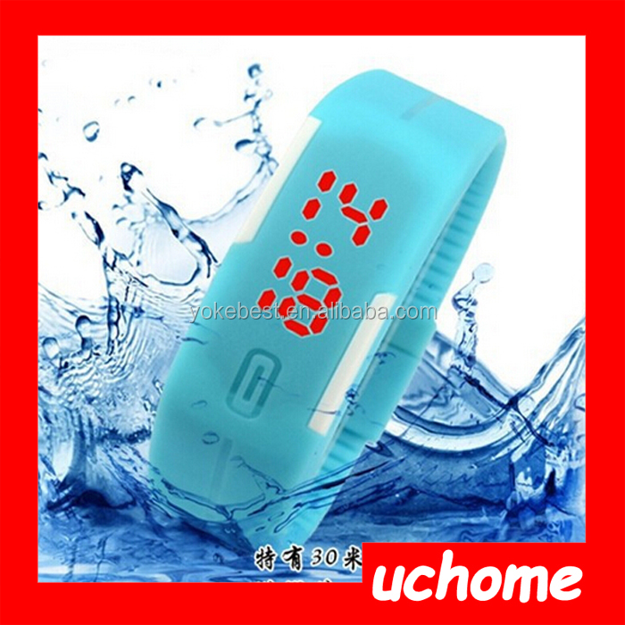 UCHOME Fashionable Cheaper Waterproof Rubber Digital Silicone Led Watch For Sports