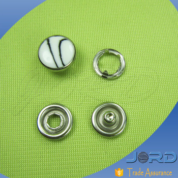 Best selling pearl resin and brass combination prong type snap buttons