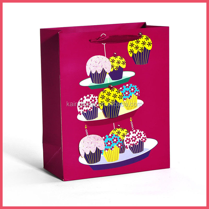 Factory supply craft purple paper shopping bags