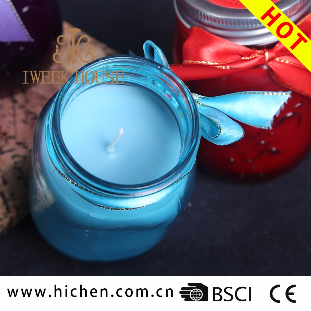 All natural soy wax making handmade mason jar shape scented candle luxury scented jar candles wholesale