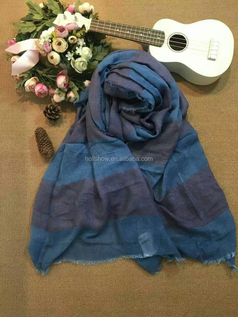 2016 Winter Newest Man Women Tassel Stripe Cotton Shawls