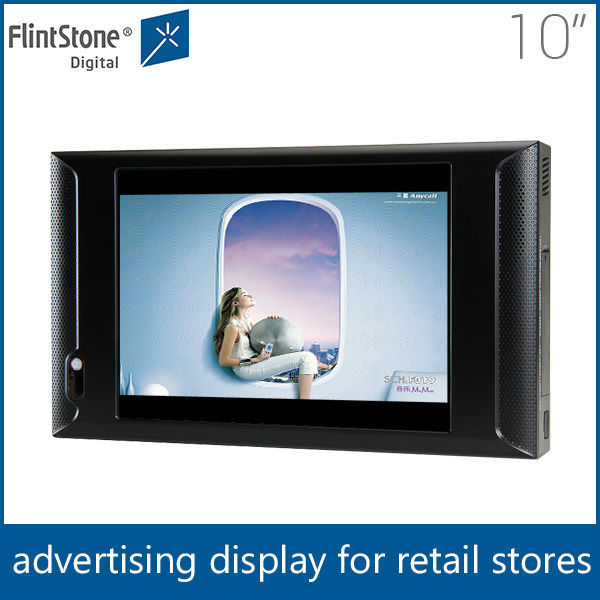 "Flintstone 10 inch lcd motion sensor advertising player, usb sd cf card lcd digital signage, 10"" lcd shop video display"