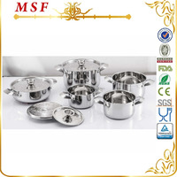 MSF new kitchen item 10pcs stainless steel cookware with embossing patterns MSF-3824