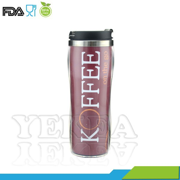400ml bpa free starbucks tumbler with lid , double wall Stainless steel enamel tumbler , advertising cup with paper insert
