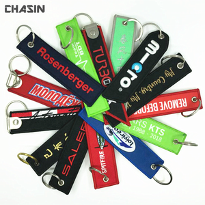 Custom twill fabric embroidery keychain, embroidery key chain tag