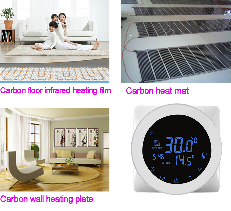 HY312WE-WIFI OEM WIFI Enabled Touch Screen temperature controller thermostat in floor water heating with multiple language