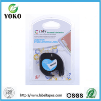 12mm*4m black on white dymo 91201 Compatible for DYMO LetraTag plastic Tape label printer ribbon label maker typewriter ribbon