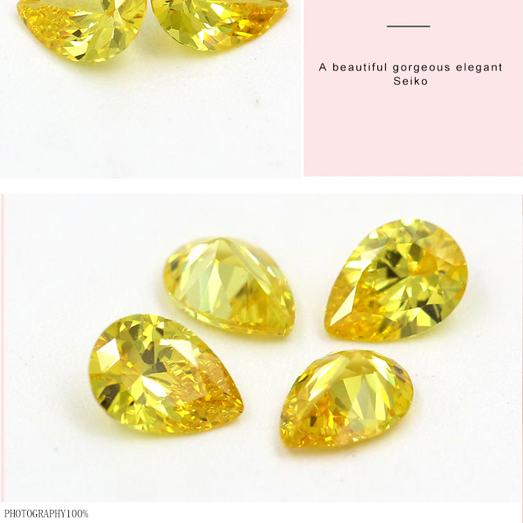 Wholesale CZ pear cut yellow color cubic zirconia stone AAA