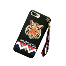 Cute Anime Tiger & Rabbit Stud Rivet Wrist Strap Soft TPU Cover Case For iphone 7 plus