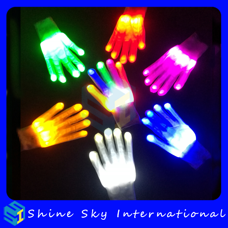 Colorful Bright Lights Led Glowing Skeleton Gloves,Cheap Led Gloves Halloween Party Custom Led Flashing Gloves