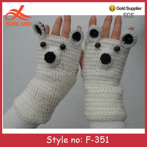 F-351 new fashion knitted panda gloves