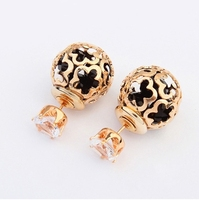 2015 Hot Sale Fashion Jewelry Hollow Flower Double Side Ball Stud Earrings Gold Plated Zircon Crystal Crown For Women