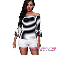 2016 Black White Stripes Off-the-shoulder traditional chinese blouses