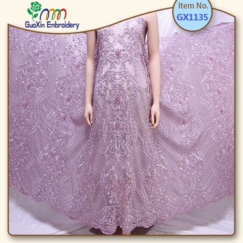 Wholesale Haute Couture Handmade Beaded Dubai Fabric Colorful  Lace Fabric Beads Bridal French Lace Fabric