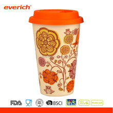 Everich 300ml Cheap Plain Ceramic Red Mug Porcelain Cup for Coffee With Silicone Lid