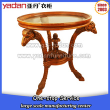 Goat shaped animal feet glass round wood sofa coffee table