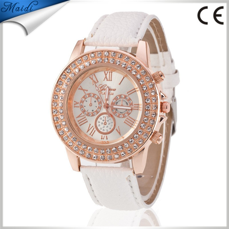 Fashion Luxury Geneva Brand Watch Womens Golden Rhinestone Geneva Roman Numerals Dial Analog Quartz Wrist Watch GW075