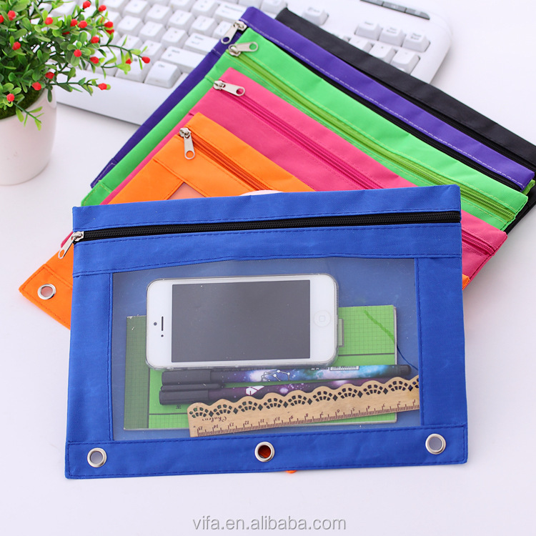 3-Ring Grommet Holes Quick View Clear Window Zippered Pencil Pouch