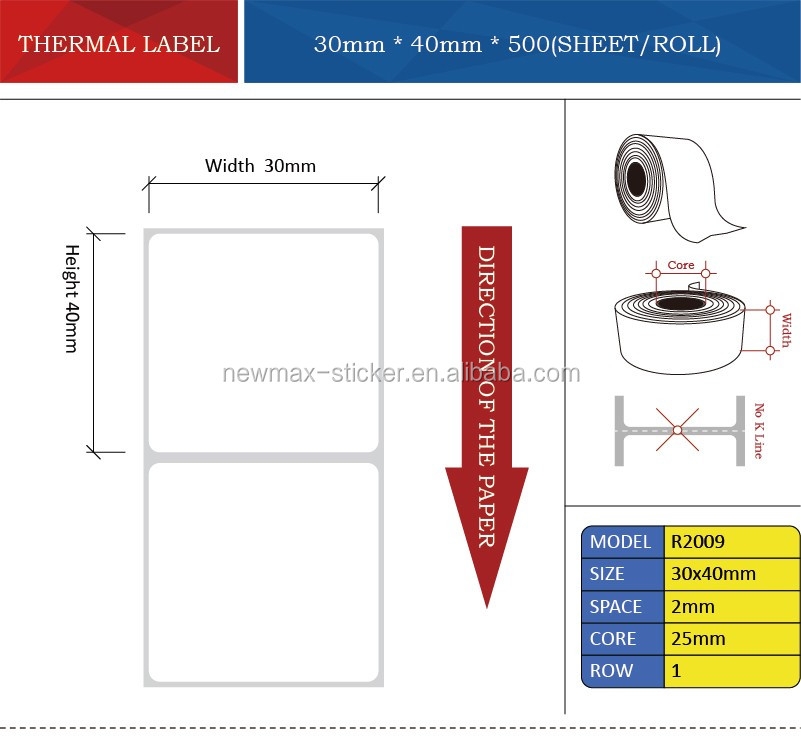 Blank Thermal Paper Barcode Label Sticker for Printer